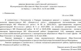 Акт ревизии финансово-хозяйственной деятельности. образец 2018 года