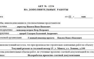 Акт дополнительных работ. образец и бланк 2018 года