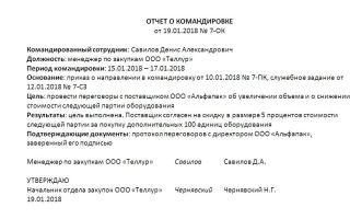 Отчет о командировке. образец заполнения и бланк 2018 года