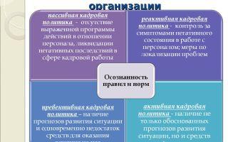 Типы и виды кадровой политики на предприятии
