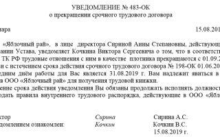 Образец уведомления о прекращении срочного трудового договора 2018 года