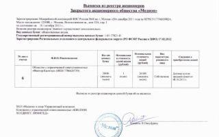 Выписка из реестра акционеров. образец и бланк 2018 года