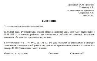 Заявление на совмещение должностей. образец и бланк 2018 года