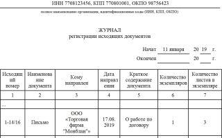 Журнал регистрации исходящих документов. образец, бланк 2018