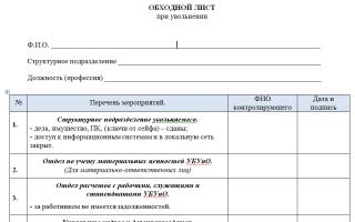 Обходной лист при увольнении. образец и бланк 2018 года