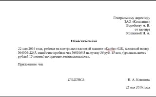 Пример объяснительной записки о неправильно пробитом чеке