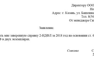 Заявление на предоставление справки 2-ндфл в 2018 году