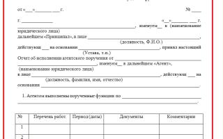 Отчет агента по агентскому договору. образец 2018 года