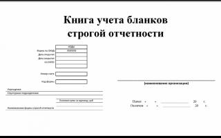 Книга учета бланков строгой отчетности по форме 0504045. образец
