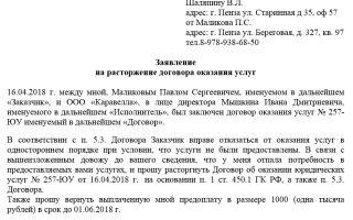 Образец заявления на расторжение договора оказания услуг 2018 г.