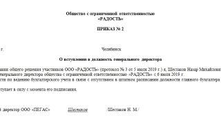Образец приказа о вступлении в должность генерального директора ооо