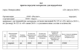 Акт передачи давальческих материалов. образец, бланк 2018