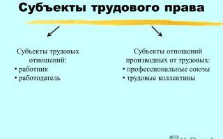 Субъекты трудового права и трудовых отношений